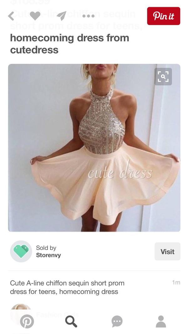 dress skater peach sparkle clothes sparkly dress blush pink party dress pink dress halter neck dress prom dress nude nude dress prom