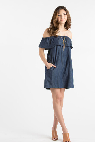 dress off the shoulder off the shoulder dress denim denim dress mini dress summer dress ruffle dress ruffle summer outfits