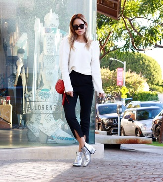 croptopia blogger gucci bag cropped pants silver shoes mid heel boots silver ankle boots slit pants white top red bag gucci ankle boots black sunglasses fall outfits