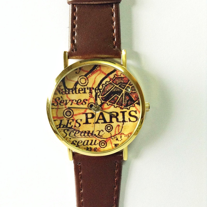 Paris Watch, Map Watch, Vintage Style Leather Watch, Women Watches, Boyfriend Watch, World Map, Brown,