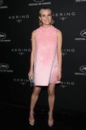 dress,mini dress,diane kruger,pink dress,pink,sandals,cannes