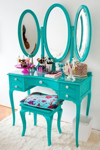 home accessory makeup table turquoise girly