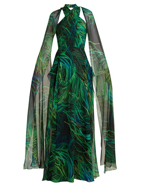 Elie Saab gown silk print green dress