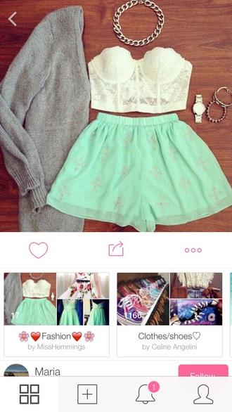 top shorts bralet lace bralette crop tops