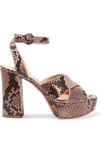 python sandals platform sandals beige shoes