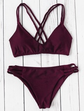 swimwear,bergandy,thin straps