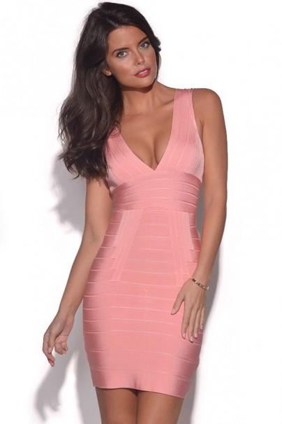 Meliz pink v neck bandage dress