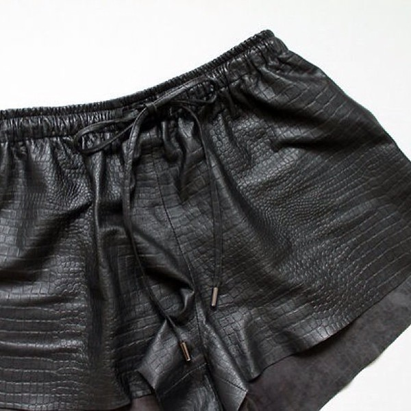 croc black crocodile leather leather shorts