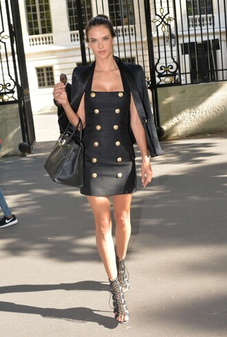 dress alessandra ambrosio mini dress sandals blazer halter dress