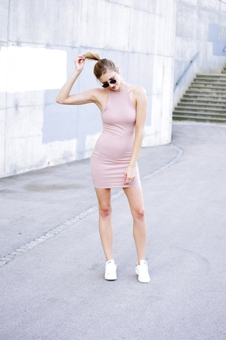 katarina vidic katiquette. street style blogger dress shoes sunglasses pink dress light pink mini dress bodycon bodycon dress sneakers aviator sunglasses high neck white sneakers summer dress summer outfits