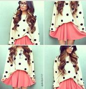 sweater,hipster,skirt,polka dots,white sweater,pink skirt,skater skirt