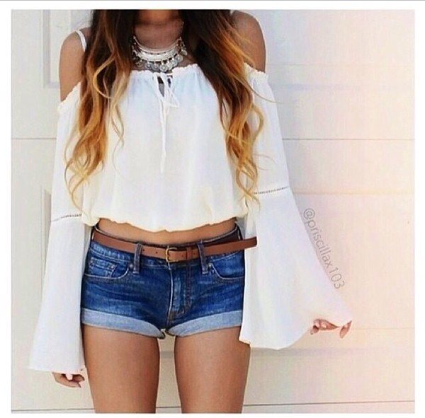 blouse opened shoulders pretty white shirt cold shoulder blouse