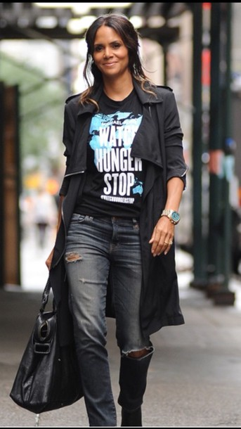 coat halle berry graphic tee trench coat