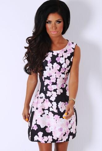 dress pink boutique floral skaterdress skater dress