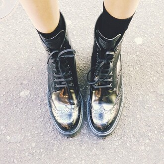 prada shoes black boots lace up combat boots military boots black shoes grunge hipster