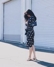 dress,tumblr,midi dress,polka dots,navy,navy dress,sandals,bag,black bag,shoes
