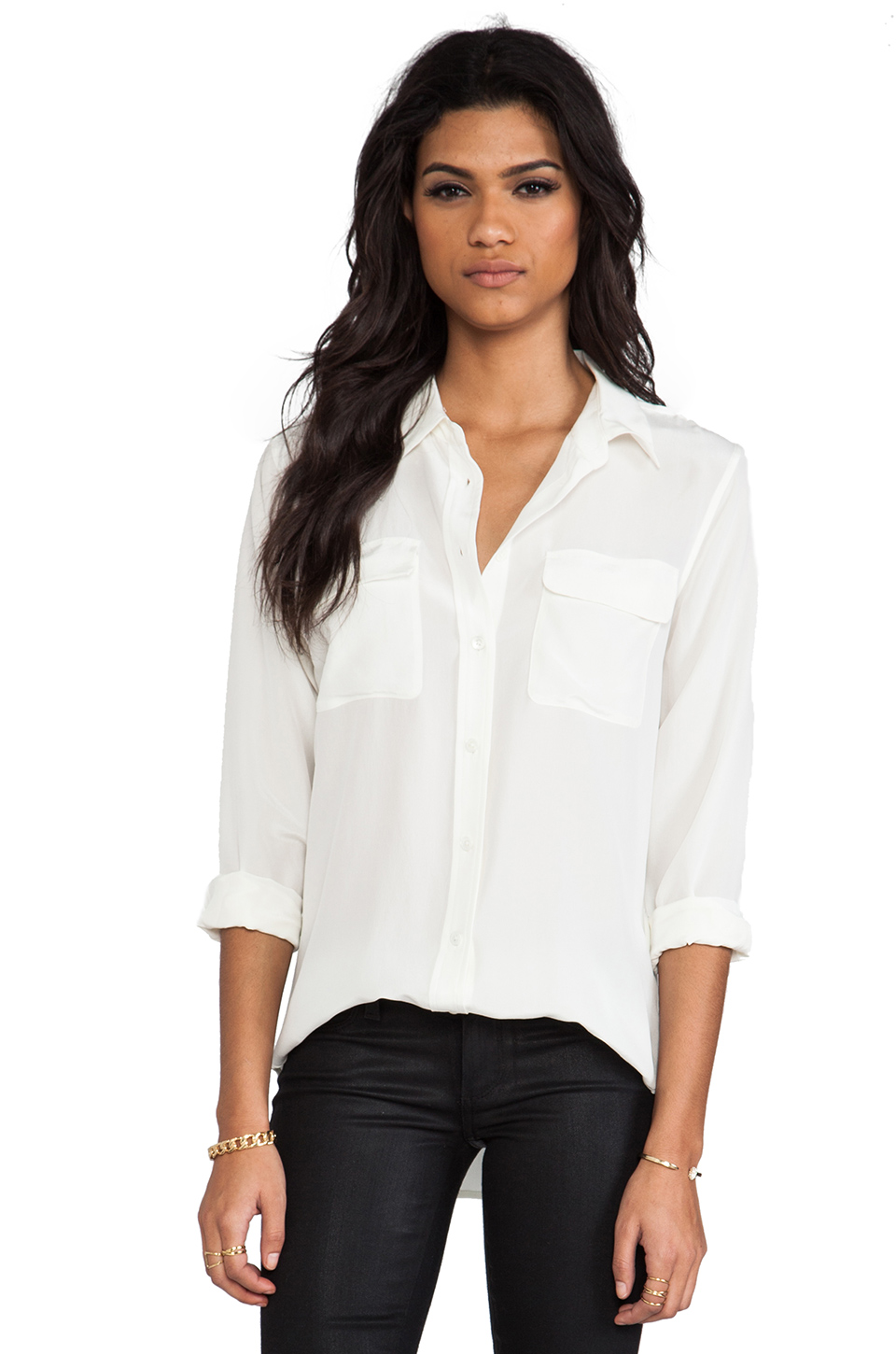 Equipment slim signature blouse in nature white from revolveclothing.com