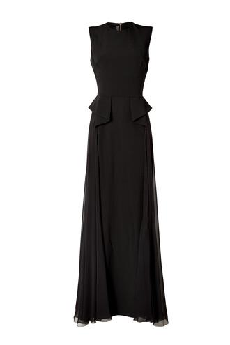 gown black silk dress