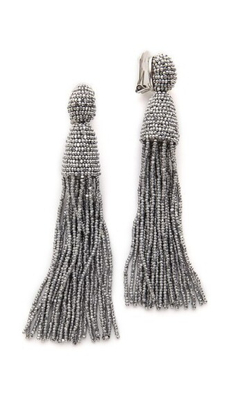 long tassel classic earrings silver jewels