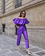 jumpsuit,purple jumpsuit,shoes,pumps,sunglasses,pointed toe heels,lilac,pants,high wasited pants,top,elegant