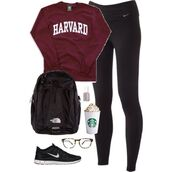 shirt,sweatshirt,burgundy,harvard,bag,pants
