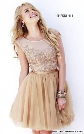 dress sherry hill nude prom dress short dress