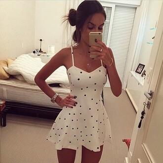 dress dots white dress