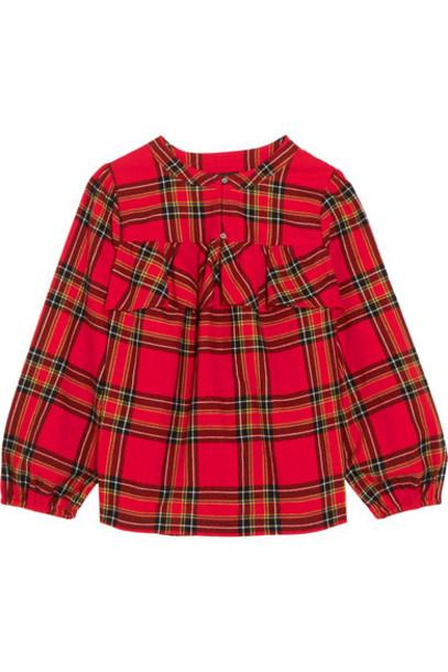 shirt flannel shirt cotton tartan flannel red top