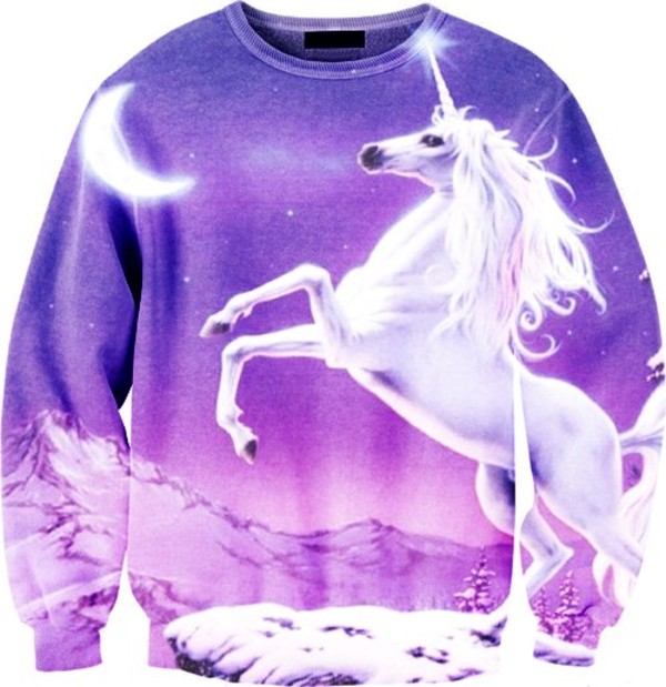sweater unicorn purple earphones