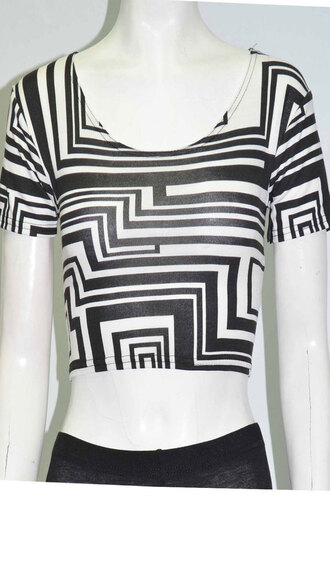 shirt womens aztec print sleeveless top black & white