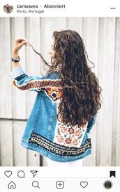 jacket,festival,festival jacket,colorful,gypsy,red,denim jacket,embroidered,hipster,boho,instagram