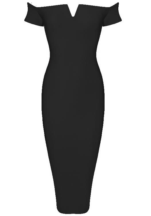 Bardot Notch Front Midi Bandage Dress Black