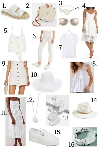 hat twopeasinablog jewels blogger shoes bag sunglasses dress tank top jeans t-shirt skirt slide shoes all white everything round bag white top white dress spring outfits