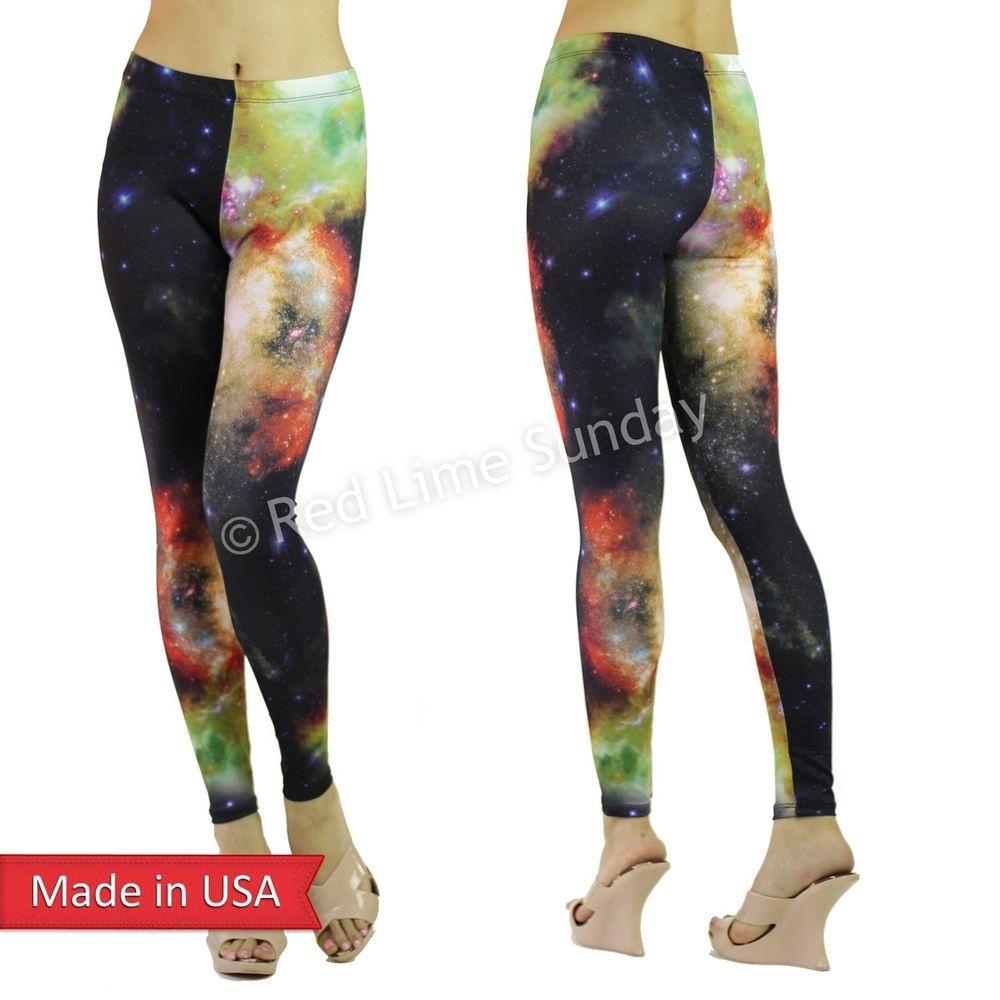 New women dark bright cosmic galaxy stars space aurora leggings tights pants usa