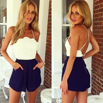 jumpsuit white and blue sexy sexy jumpsuit backless party jumpsuit evening nightclub hot strap stitching lace short lady fashion new arrival girl dress party dress sexy party dresses sunglasses