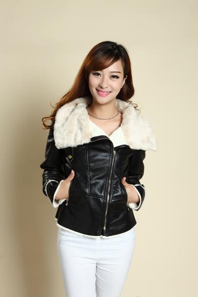 ce0ce6a5a 2015 Fur Leather Lapel Zipper Aviator Jacket Suede Fabric Leather Jacket  Women Pilot Bomber Jacket Leather -in Leather & Suede from Women's Clothing  & ...