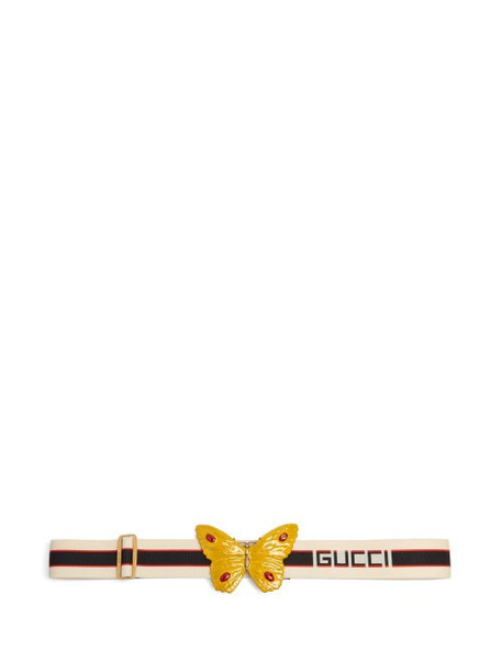 Gucci - Butterfly Striped Elastic Belt - Womens - White