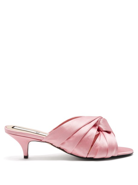 open mules satin pink shoes