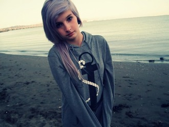 sweater white girl anchor grey afgani geans