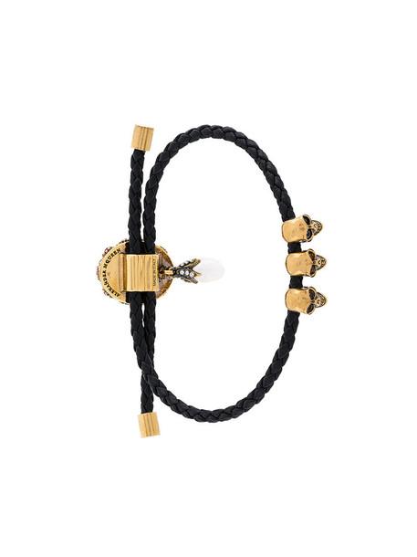 Alexander Mcqueen women embellished leather black jewels