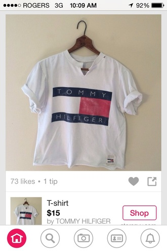 shirt tommy hilfiger white red blue fashion style chic v neck