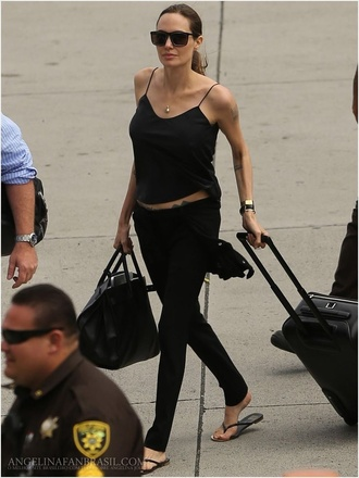top black casual angelina jolie