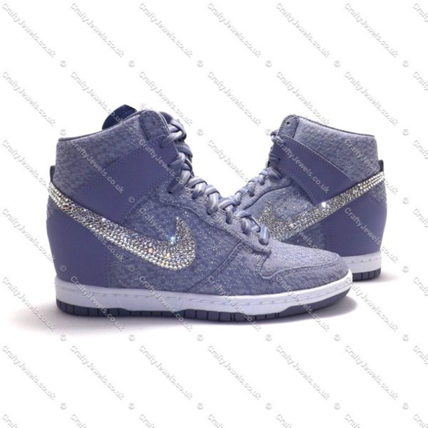 shoes nike nike dunk nike dunk sky hi swag fashion purple lilac swarovski  crystal girl girly a430ced4bfb3