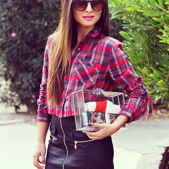 tartan skirt red tartan blouse fashion blogger icifashion ici fashion check blouse tartan dress