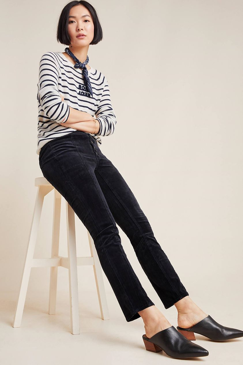 Pilcro High-Rise Skinny Corduroy Pants by and the Letterpress in Grey
