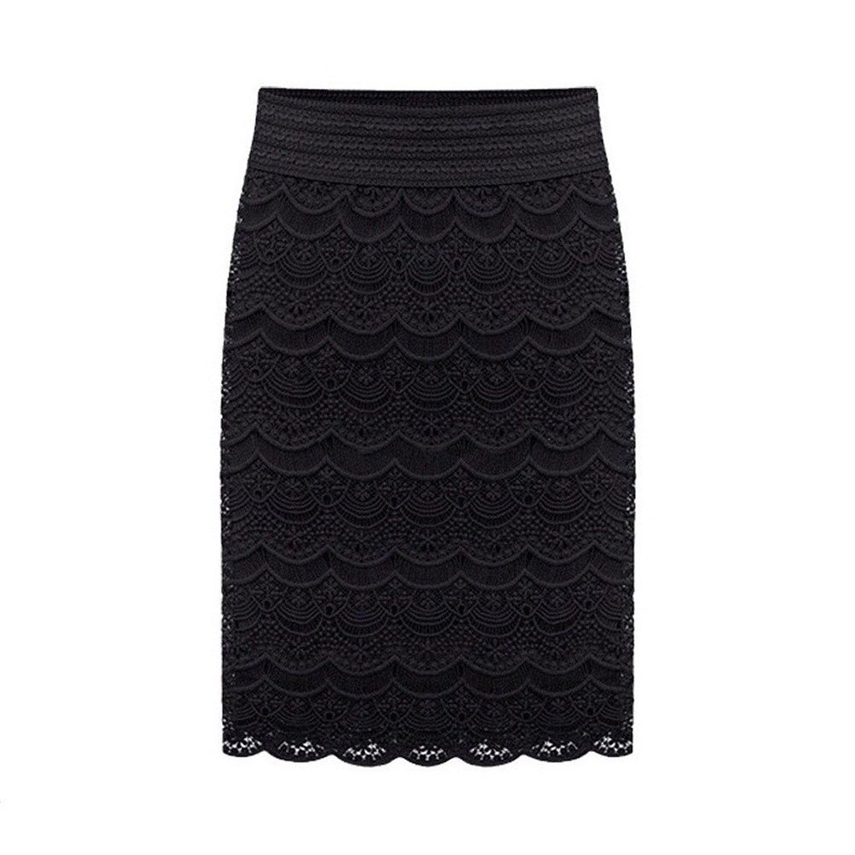 Yasson fashion women lace tassels pencil skirt (black) at amazon women's clothing store: