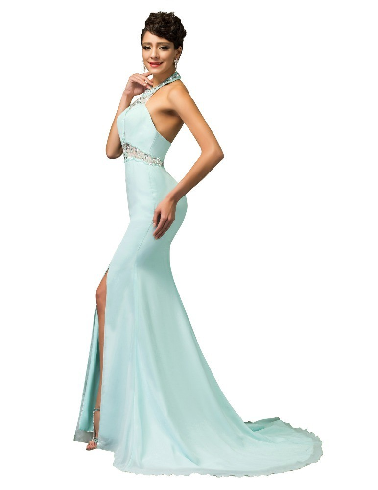 Misha Powder Blue Prom Evening Dress