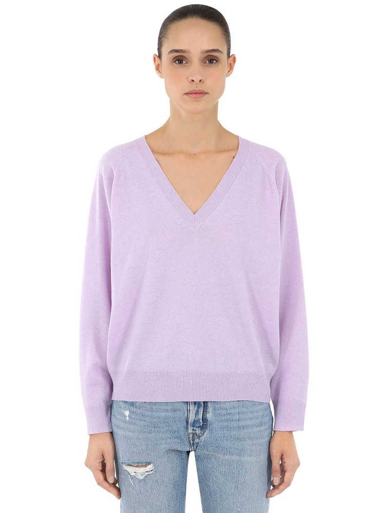 LUISA VIA ROMA V Neck Cashmere Knit Sweater in purple