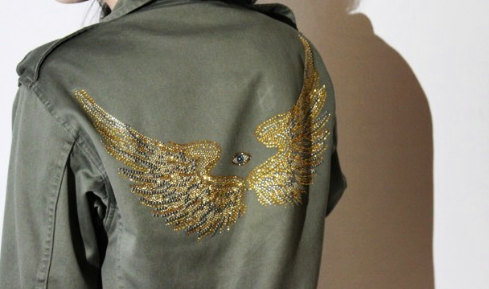 Original vintage french army jacket with rhinestone wings and hamsa