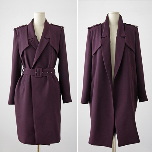Fashion shopping mall — [gzxy0310]fashion sloid color slim fit trench coat with sash